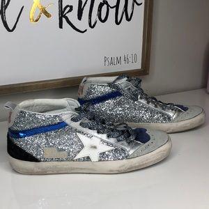 Golden Goose Shoes - Metallic Mid Star Glitter Embellished hi-top